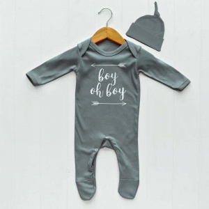 Newborn Baby Clothes Set, Grey Boy Oh Boy