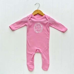 Newborn Baby Girls Sleepsuit, Pink, 'Hello World' Print
