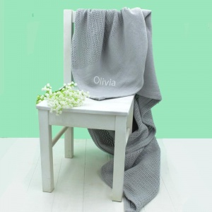 Personalised Embroidered Grey Cellular Blanket
