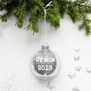 Personalised Christmas Baby Bauble in Silver