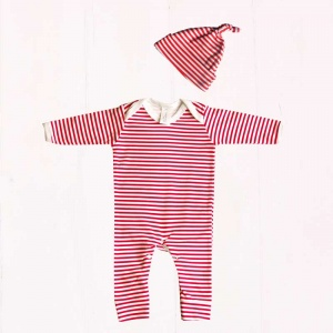 Red & White Stripe Print Baby Outfit Set