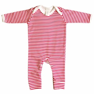 Baby Bunting Red & White Stripe Rompersuit