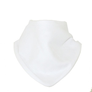 Bandana Bib, White, Cotton and Velcro fixing