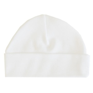 Beanie Hat, White, 100% Cotton