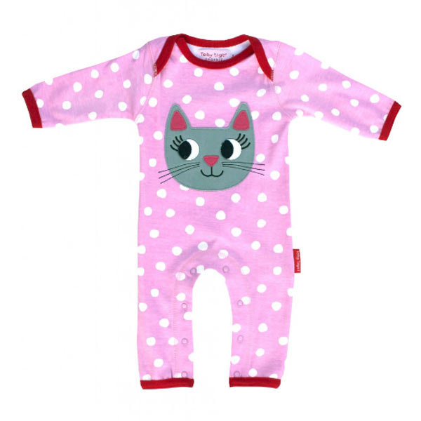 Toby Tiger Girl's Cat Applique Stripe Rompersuit