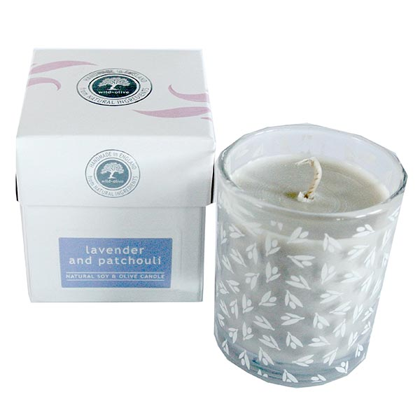 Wild Olive Lavender & Patchouli Glass Candle